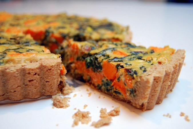 Vegan Swiss Chard & Yam (sweet potato) Quiche