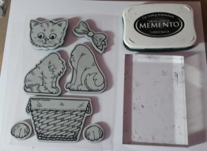 Cling stamp set, clear block, Copic paper, and Momento ink