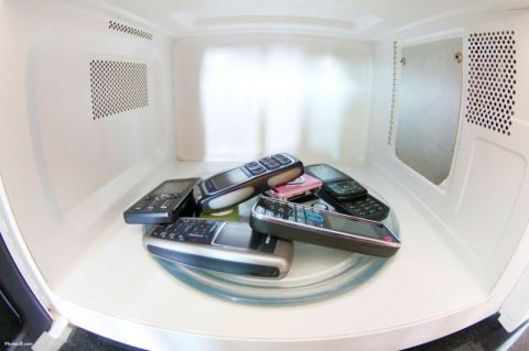 Cell phones inside microwave