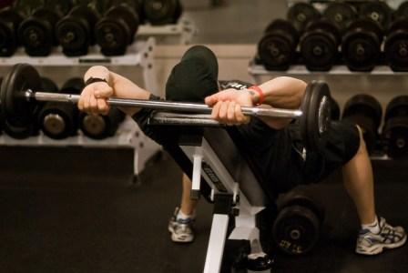 Bodybuilder training upper body