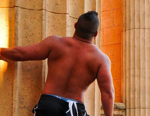 Muscular man with bare back