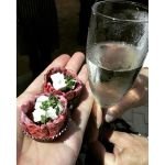 The opening salvo of #Beetroot and #Goatcheese #cups with #prosecco to start an #evening of #celebration of #marriage. The team at #Delizie #Rockhampton hosted an amazing night.  #Queensland #instafoodie #instagood #foodporn #instafood #igersrockhampton #nocatsforaweek #Tasty #wedding #reception