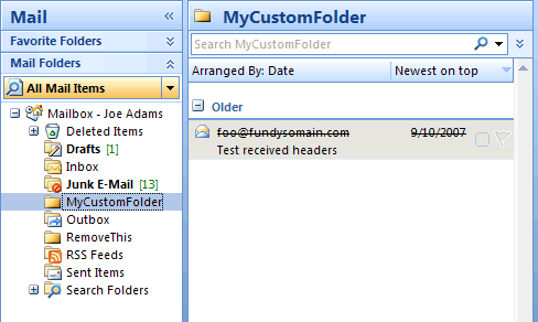 Screenshot: Expired message in custom folder