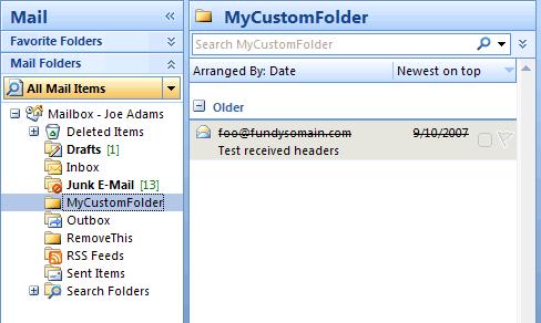 Screenshot: Expired message in custom folder