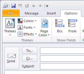 Screenshot: Outlook does not show the From field by default when composing a message