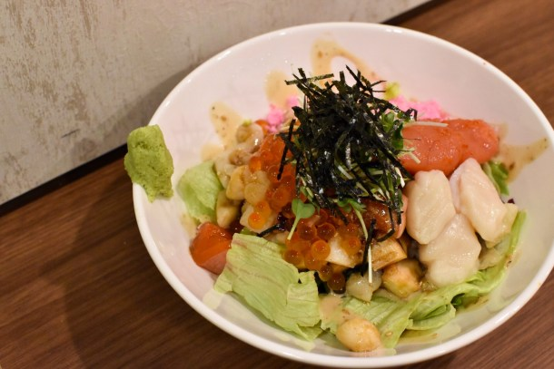 My LARGE bowl of salad ($16.80) - 5 choices of fishes and several premium add ons and garnishes.