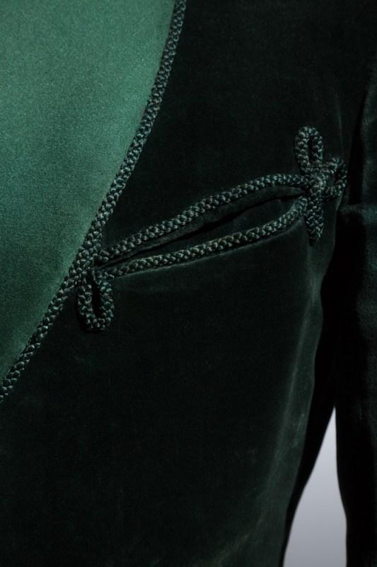 Bottle green cotton velvet smoking jacket, cashmere trousers, black bowtie 1936