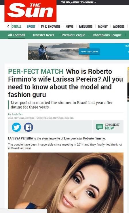 Larissa Pereira virou matéria no tablóide inglês