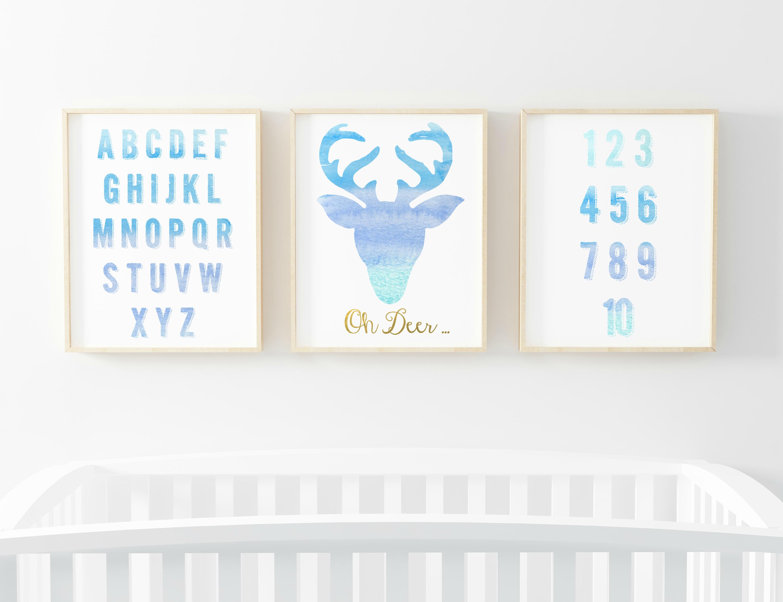 free blue watercolour printable nursery decor