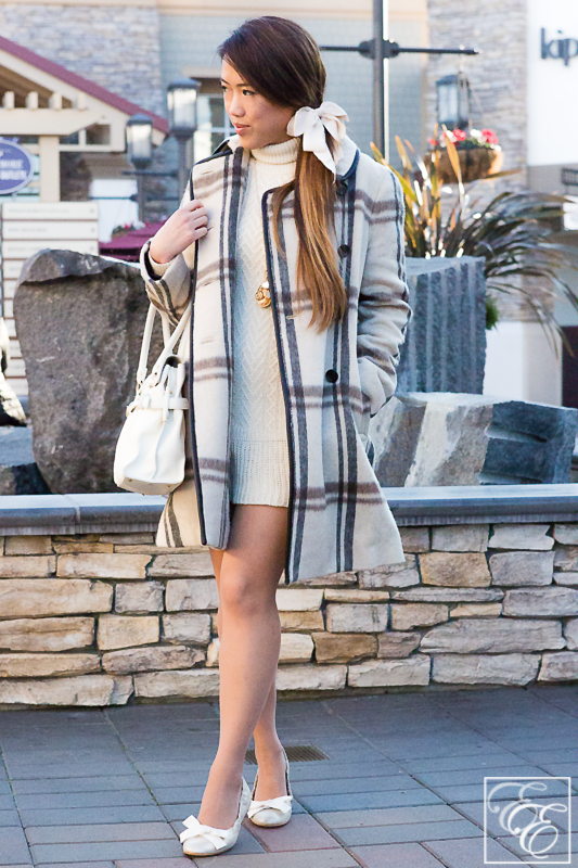 Investment Pieces: A sweater dress, long structured coat, custom-made ballet flats, and a leather bag - all in warm neutrals. EyeForElegance.com