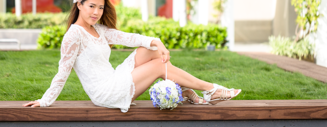 Spring fashion: white lace dress by TargetStyle. How to wear it with layers when the temperatures cool down!
