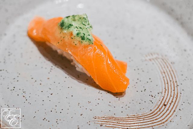 Seared salmon nigiri with basil aioli