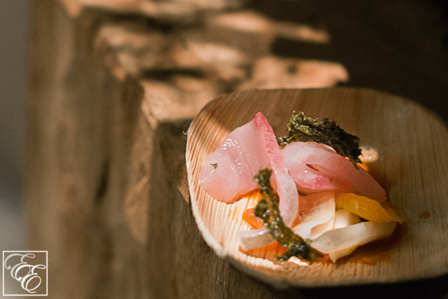 Hawaiian kampachi with nori, turnip, cured pear, and satsuma ponzu