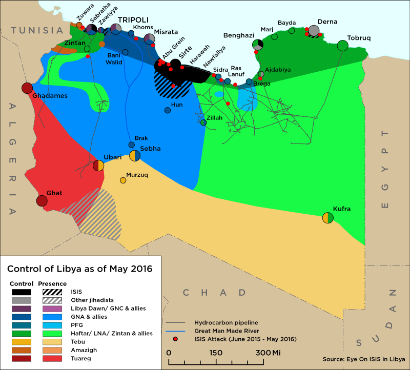 Map of Libya Control as of May 2016