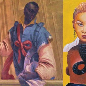 Photomontage, Rachel Dolezal, An image of blackness from the Italian Renaissance taken in Venice, Italy (2015), A Ghanain sign promoting hairstyles