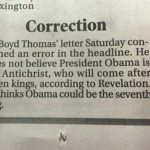 Newspaper Correction – No, OBAMA Is NOT The Antichrist