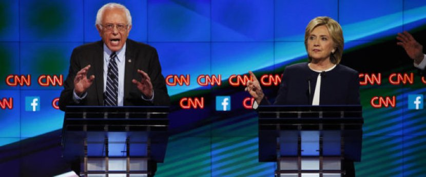 PHOTO SENT DIRECTLY FROM CAMERA. PLEASE CROP AND TONE AS NEEDED. The Democratic presidential candidates in a debate held by CNN on Tuesday, October 13, 2015 in Las Vegas. Photo by Josh Haner/The New York Times