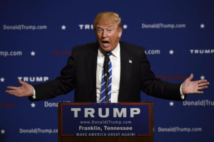 Republican presidential candidate Donald Trump speaks at an event Saturday, Oct. 3, 2015, in Franklin, Tenn. (AP Photo/Mark Zaleski)