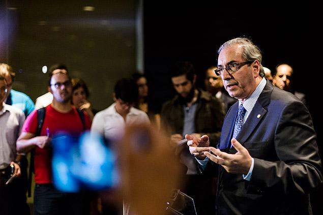 O presidente da Câmara dos Deputados, Eduardo Cunha (PMDB-RJ), durante jantar na Fiesp