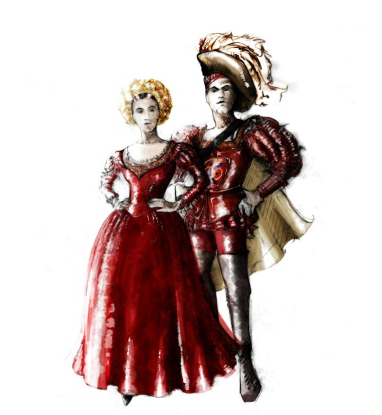 Kate and Petruchio at Lucentio and Bianca's wedding   -   Rendering: Fabio Toblini