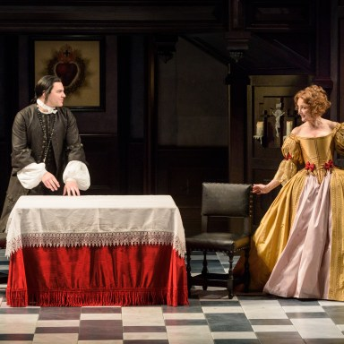 """Nick Matarrese and Elizabeth Heflin in the Resident Ensemble Players 2017 production of """"Tartuffe"""" by Molière directed by Maria Aitken. - (Evan Krape / University of Delaware)"""