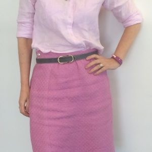 Pink Laird-Knox skirt in pink Linton tweed and RTW linen shirt
