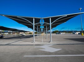 Fabritecture, fabric structure, car park, Westfield, shade cloth