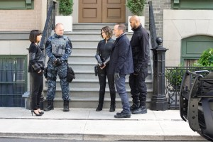 "MARVEL'S AGENTS OF S.H.I.E.L.D. - ""Devils You Know"" - Having reluctantly agreed to share information with Rosalind and the ATCU, Coulson and the team go in search for the Inhuman who is killing off other Inhumans, and May feels that Hunter's mission to take down Ward is getting too personal, on ""Marvel's Agents of S.H.I.E.L.D.,"" TUESDAY, OCTOBER 20 (9:00-10:00 p.m., ET) on the ABC Television Network. (ABC/Kelsey McNeal) CONSTANCE ZIMMER, ANDREW HOWARD, CHLOE BENNET, CLARK GREGG, HENRY SIMMONS"