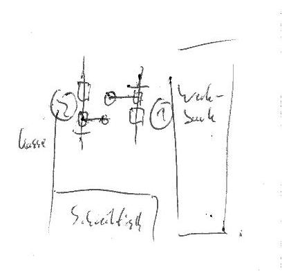 grobe Skizze mit zwei Arbeitsplätzen und Schreibtisch