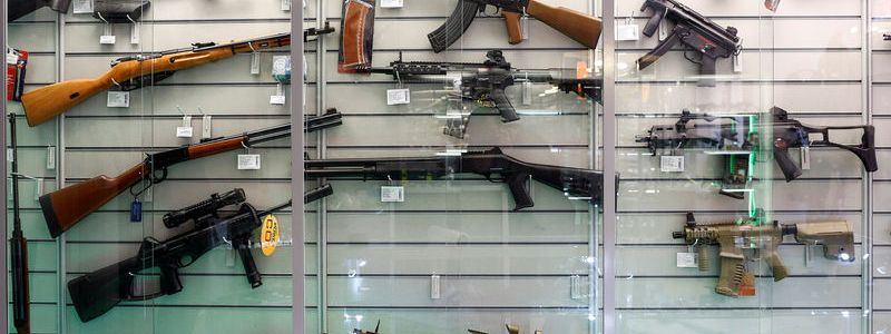 Air guns are seen in a showcase of a gunsmith's shop in Berlin, Germany, January 8, 2016. REUTERS/Hannibal Hanschke/File Photo