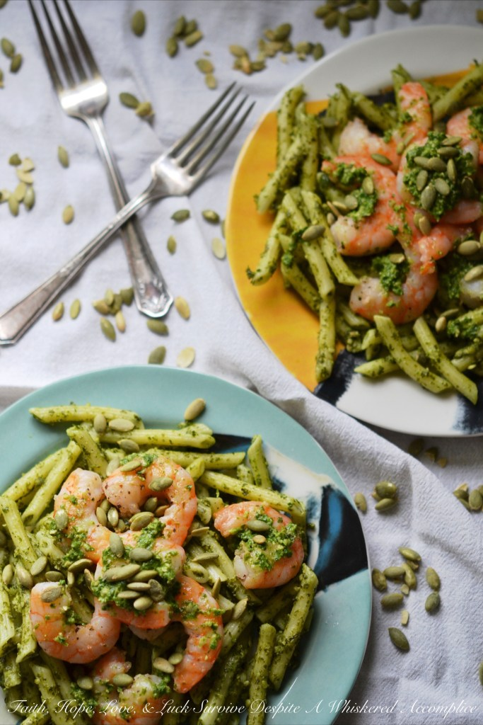 Pepita Pesto-Coated Pasta with Shrimp   Faith, Hope, Love, and Luck Survive Despite a Whiskered Accomplice