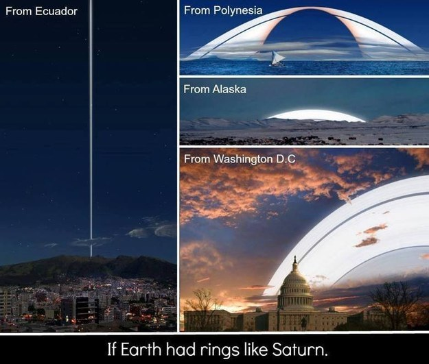And just for good measure, here's what Saturn's rings would look like if they were around Earth: