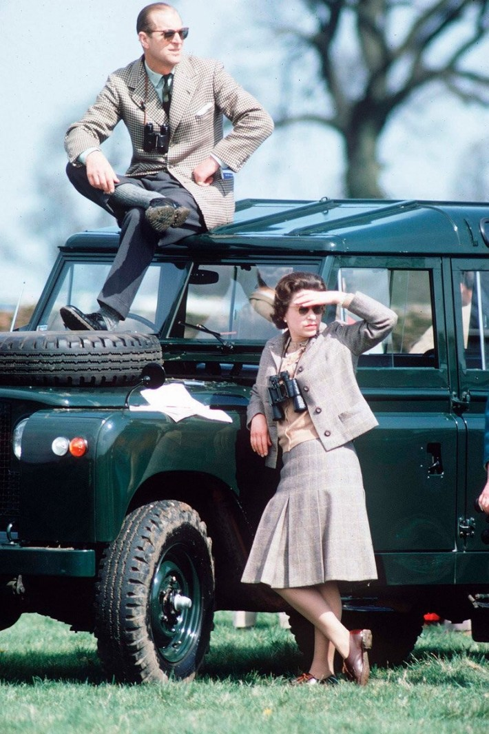Queen Elizabeth and Prince Phillip at the horse races (1968).