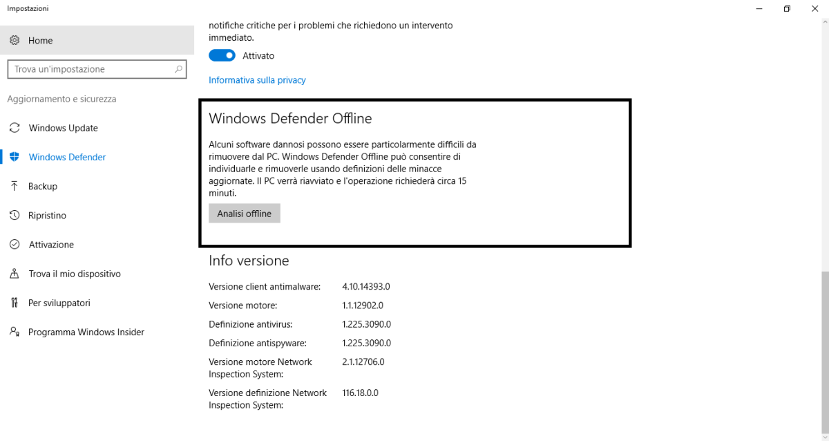 Modalità Offline Defender - Windows 10