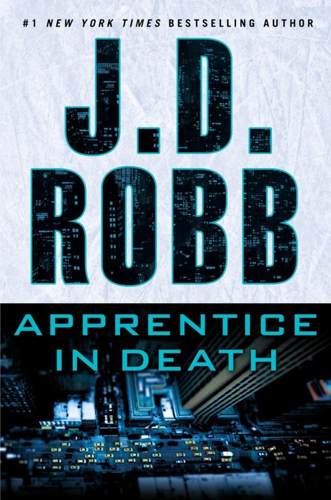 Portada de Apprentice in death, de J.D. Robb, con una escena nocturna de Nueva York