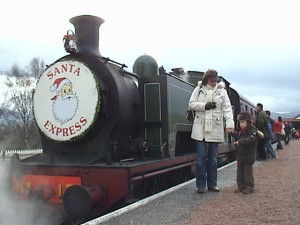 Sam and Anna at Santa train