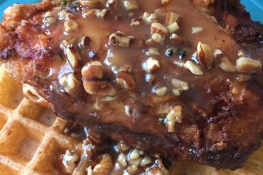 Chicken & Waffles with Honey Pecan Sauce
