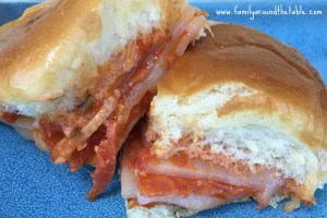 Pepperoni Cheese Pizza Sliders  #SundaySupper