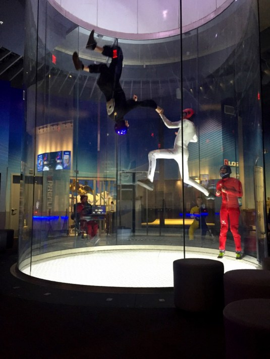 iFly Westchester, professional skydivers practicing tricks