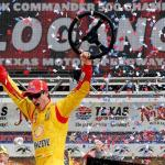 Joey Logano celebrates his victory at Texas Motor Speedway April 7, 2014 Photo Chris Graythen/Getty Images