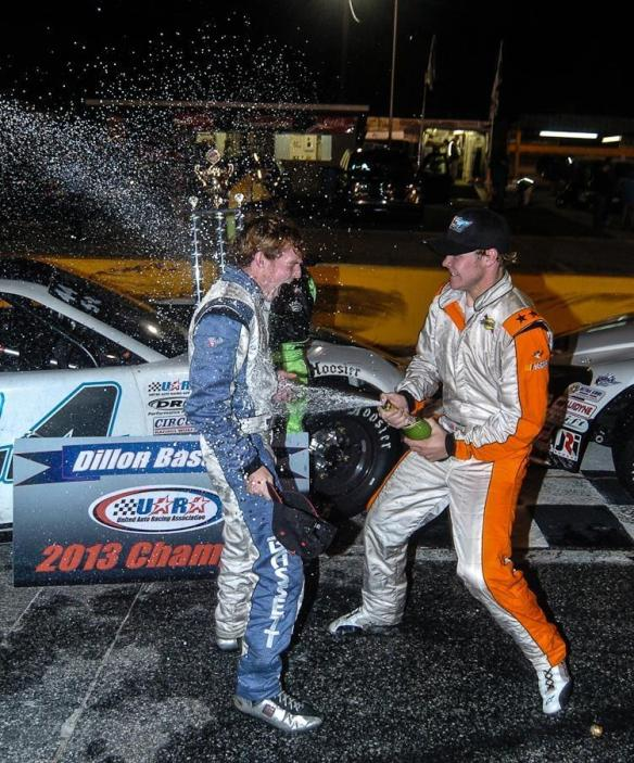Ronnie Bassett Jr celebrates winning the race with his brother Dillon Bassett who won the 2013 UARA Championship.