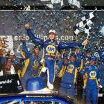 Chase Elliott, driver of the #9 NAPA Auto Parts Chevrolet, celebrates after winning the NASCAR Nationwide Series EnjoyIllinois.com 300 race at Chicagoland Speedway on July 19, 2014 Photo - Sean Gardner/Getty Images