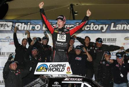 Erik Jones, driver of the #51 ToyotaCare/Project Pink Toyota, celebrates in victory lane after winning the Rhino Linings 350 at Las Vegas Motor Speedway on September 27, 2014 Photo - Christian Petersen/Getty Images