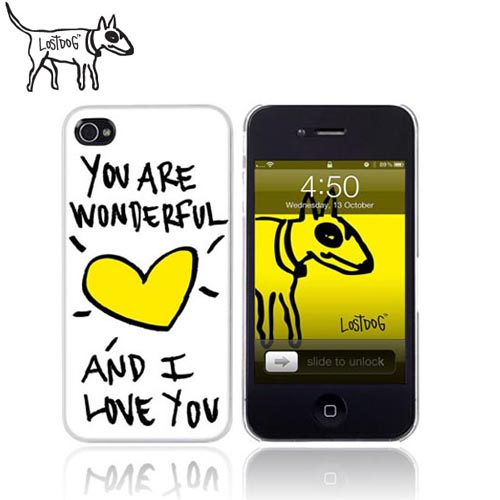 Original Lost Dog Apple iPhone 4 Plastic Case with Screen Protector