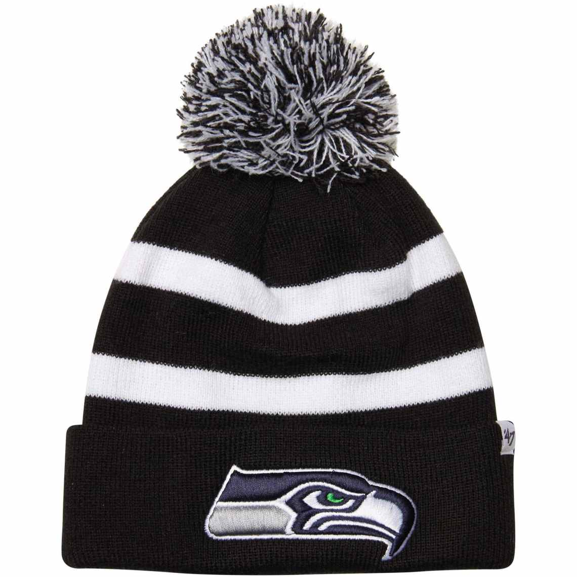 '47 Brand Seattle Seahawks Breakaway Domestic Cuffed Knit Hat with Pom - Black/White