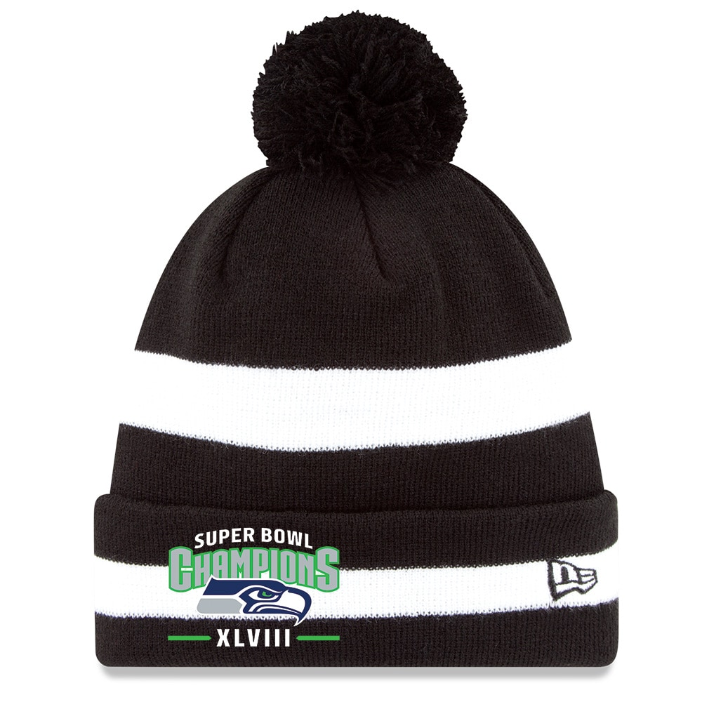 New Era Seattle Seahawks Super Bowl XLVIII Champions 2-Tone Stripe Knit Hat with Pom - Black/White