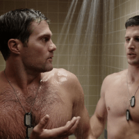 "Geoff Stults as Sergeant Pete Hill and Parker Young as Private Randy Hill shirtless in Enlisted 1x03 ""Pete's Airstream"""