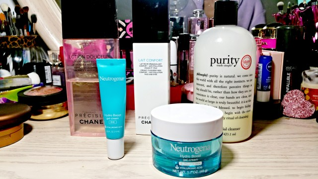 Chanel Lotion Douceur Gentle Hydrating Toner, Chanel Lait Confort Creamy Cleansing Milk, Philosophy Purity Made Simple Cleanser, Neutrogena Hydro Boost Gel Cream