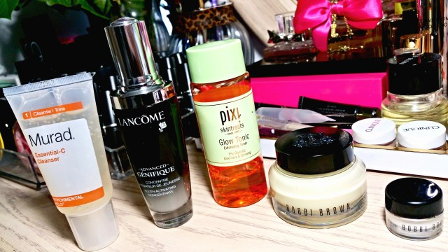 Morning Skincare Routine: Murad Essential-C Cleanser, Lancome Advanced Genifique Youth Activating Concentrate, Pixi Glow Tonic Exfoliating Toner, Bobbi Brown Vitamin Enriched Face Base, Bobbi Brown Extra Eye Repair Cream