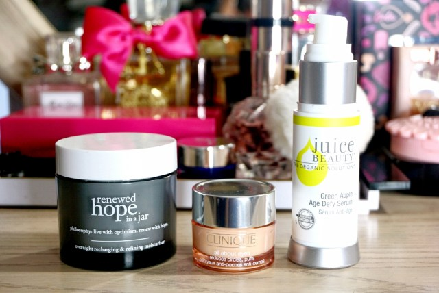 Philosophy Renewed Hope in a Jar Overnight Recharging & Refining Moisturizer, Clinique All About Eyes, Juice Beauty Green Apple Age Defy Serum